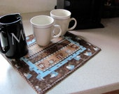 Quilted Coffee Theme Coffee Bar Topper/Runner Blue & Brown Coffee Fabric Table Topper/Counter Runner/Coffee Bar Topper - Kitchen Decor