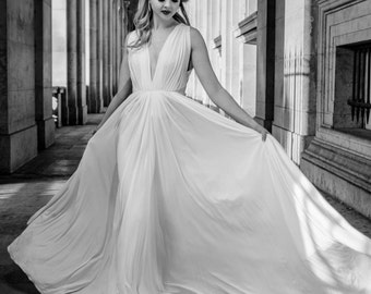 Deep V Pleated Couture Wedding Gown - Deep V Back - Silk Jersey Custom Made Wedding Dress - Ethereal - Bohemian - Madam Gres Style