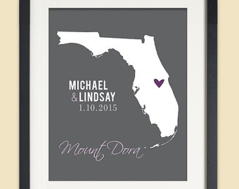 Florida Map Print, Personalized Wedding Gift for Couple, Florida Wedding, Bridal Shower Gift, ANY State or City