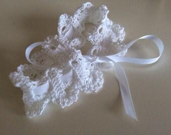 White crochet wedding garter