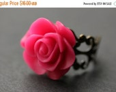 VALENTINE SALE Hot Pink Rose Ring. Fuchsia Pink Flower Ring. Gold Ring. Silver Ring. Bronze Ring. Copper Ring. Adjustable Ring. Handmade Jew