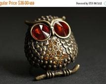 HALLOWEEN SALE Owl Ring. Rhinestone Owl Ring. Bronze Owl Ring. Cocktail Ring. Adjustable Ring. Owl Jewelry. Large Ring. Handmade Ring. Handm