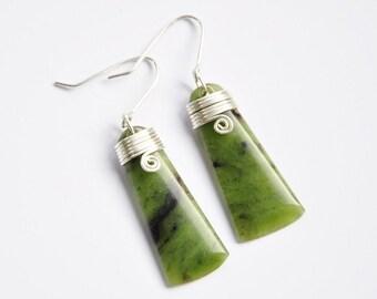 Greenstone & Sterling silver toki earrings - New Zealand greenstone