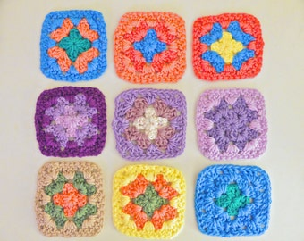 Multi-Colored Organic Yarn Crocheted Coasters