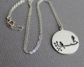 Birds on a Branch -Sterling Silver Jewelry Necklace - Free US Shipping