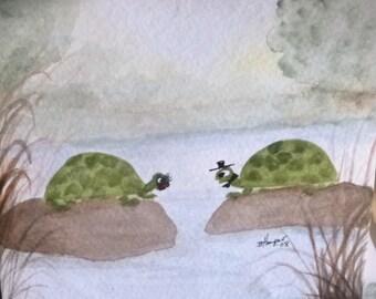 MR & MRS  TURTLE  a Mini Painting