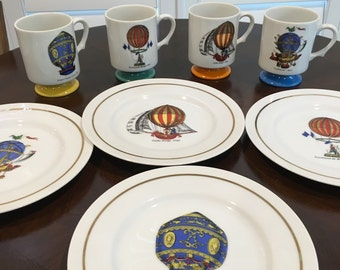 Mug cup and plate sets 4 designs french hot air balloon vintage look