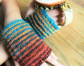 Wrist Warmers, Fingerless Gloves Hand Knit in Gorgeous Noro Yarn