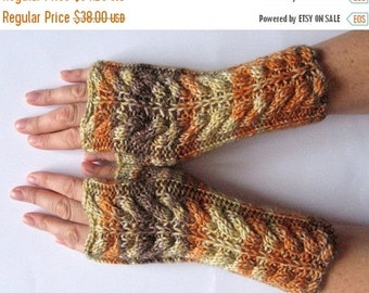 ON SALE Fingerless Gloves Brown Orange Yellow wrist warmers