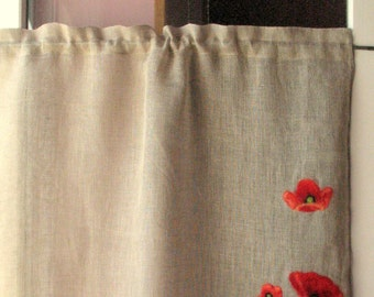 Curtain Burlap Curtains Cafe Curtains Natural Gray Red Poppy Washed Linen Curtains Kitchen Curtains Shabby Chic Curtains Panels Felted Wool