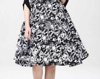 Black cloak dress Loose Fitting asymmetrical Cotton dress