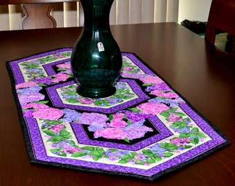 Table Runner - Quilted - Pink, Purple and Blue Hydrangea Table Runner #2