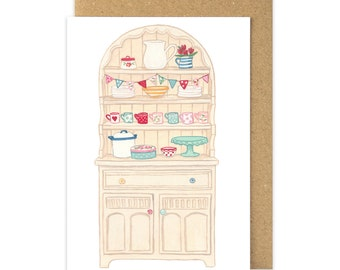 Welsh Dresser Card. Country Cream Chalk Painted Dresser. Shabby Chic China. Welsh Greetings Card