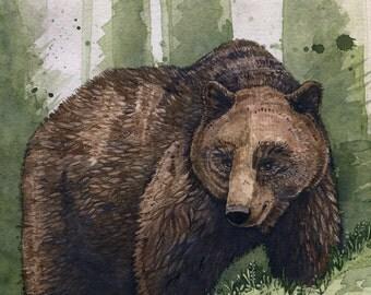 "Brown Bear | Watercolor | Archival Print 8"" x 10"""