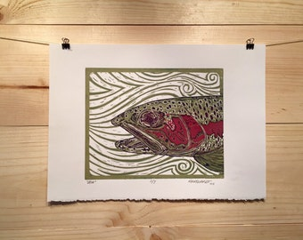 Rainbow Trout reduction print fly fishing artwork by Jonathan Marquardt of BadAxeDesign