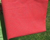 Vintage DOTTED SWISS Fabric Christmas Red with White Dots Flocked 1/2 yard