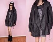 90s Black Leather Hooded Jacket