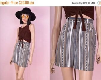 SUMMER SALE 80s High Waisted Aztec Print Denim Shorts
