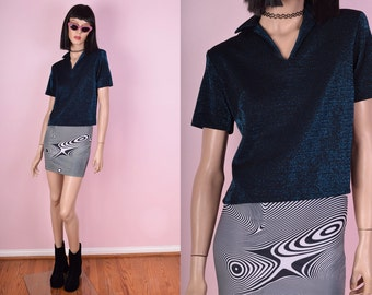 70s Blue Shimmer Cropped Shirt