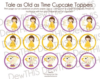 Digital Download- 'Tale as Old As Time' DewTHIS Cupcake Toppers,Tags, Disney inspired, Belle, Beauty and the Beast Inspired