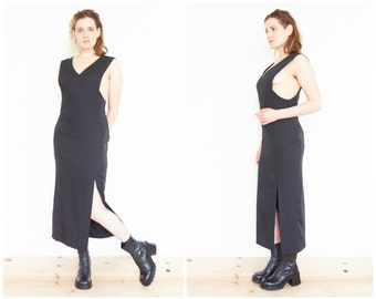 90s Sleeveless Black Side Slit Party Dress