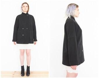 90s Minimal Black Wool Military Coat /