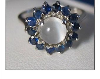 Vintage 14k Moonstone Sapphire halo Ring