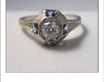 Antique Art Deco 18k Old Mine Cut Diamond and Four Sapphire Engagement Ring