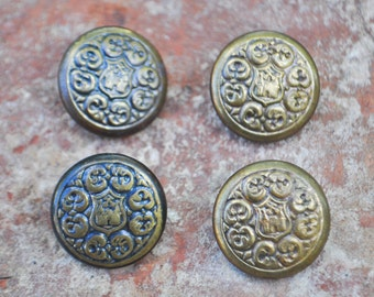 "Vintage Latvian brass-plastic buttons.""Old Riga"" Set of 4."
