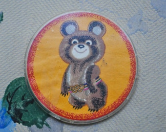 "Vintage Soviet Russian plastic badge,pin.""Misha-Moscow Olympics 1980"""