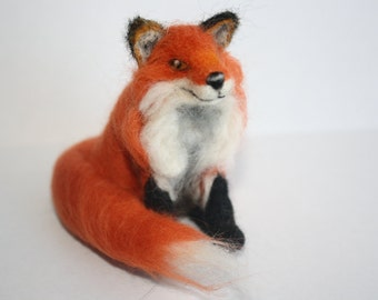 Needle felt fox sculpture