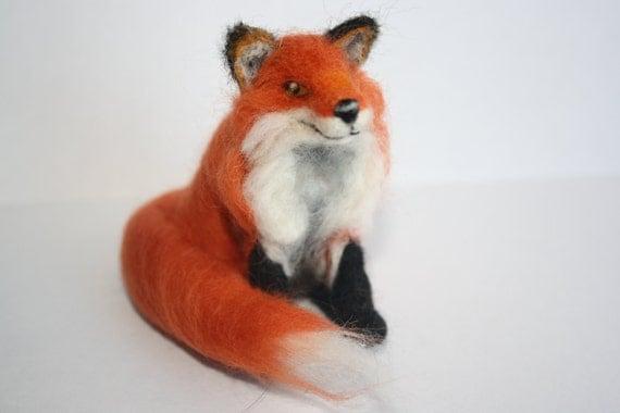 Needle felt fox sculpture