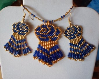 Beautiful Native American Style Beaded Gold and Blue Rose Flower Necklace Earrings Set Southwestern, Boho, Peyote Brick Stitch Ready to Ship