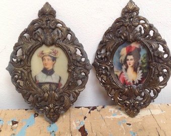 2 Small vintage brass ornate picture frames