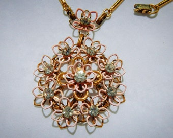 Pink and Gold Floral Pendant With Rhinestones Vintage Necklace