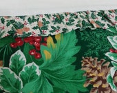 Holly Pinecone Leaves Christmas Standard Cotton Pillowcase Handmade Arvilla RubyTM