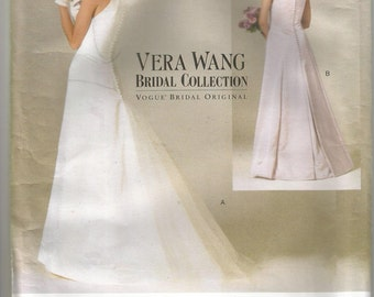 "Vogue 2118 Vera Wang Bridal Collection Wedding Dress Size 6 8 10 12 Bust 30 1/2"" 31 1/2"", 32 1/2"", 34"""