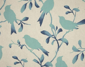 """One 52'W x 17""""L  Custom Lined Valance  - Bird - Aqua Blue Tan"""