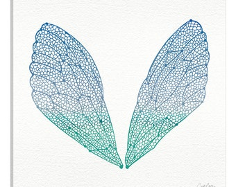 iCanvas Cicada Wings Blue Turquoise Artprint Gallery Wrapped Canvas Art Print by Cat Coquillette