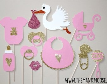 Baby Shower Props - Baby Girl Photo Props - Set of 10 Glitter Photo Booth Props - Pink and Gold Glitter Photo Props