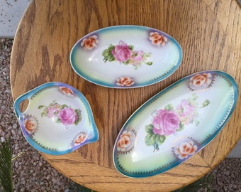 3-pc THURINGIA Germany porcelain gravy boat relish dishes pink roses Victorian