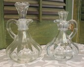 Oil or Vinegar Cruets with Stoppers  - Pressed Glass Vinegar/ Oil Decanters