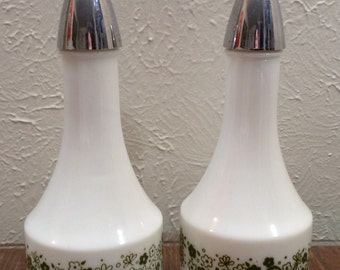 Vintage 1960s or 70s oil and vinegar decanters avocado and white color