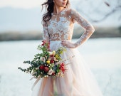 Maxi Lace and Tulle İvory Unique Handmade Wedding Gown for your Special Day Floral Pattern Nude Wedding Dress Haute Couture