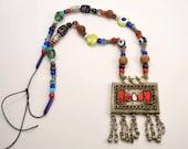 Vintage Kuchi Necklace w Beads, Tribal Jewelry, Gypsy Necklace, Bells, Boho Necklace