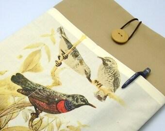 SALE - iPad Air case, iPad cover, iPad sleeve with 2 pockets, PADDED - Birds (65)