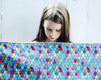 Organic Blanket, Mermaid, Dragon, Rainbow Feathers, Baby Blanket, Crib, Twin Sized Blanket, Twin Duvet, Twin Quilt, Illustrated Baby Blanket