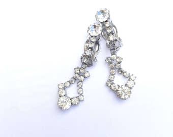 Vintage Clear Rhinestone Dangle Drop Earrings Retro Vintage Fashion Glamour Jewelry