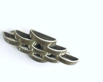 Taxco Mexico Sterling Silver Brooch 925 Vintage Dimensional Designer Jewelry