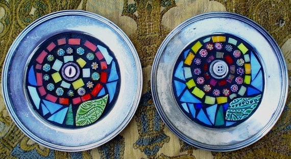 20% OFF PAIR:  Silver Mosaic Flowers Mixed Media Stained Glass Vintage Button